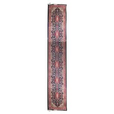 Vintage Kashan Persian Runner, 20th Century