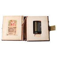 Antique Victorian Novelty Photo Album or Postcard Book with Music Box, 1892