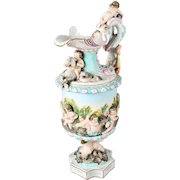 Antique Meissen Figural and High Relief Porcelain Maritime Ewer, Signed