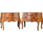Pair of Antique Italian Marquetry Inlay Two-Drawer Petite Bombe Commodes