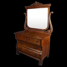 Antique Carved Quarter Sawn Oak Mirrored Dresser, Acanthus and Paw Feet