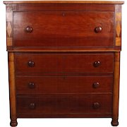 Classical Empire Tiger Maple Two-Tone Inlaid Drop Front Butlers Desk
