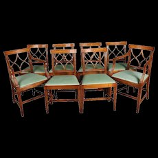 Set of Eight Mahogany Baker School Upholstered Dining Chairs, 20th Century