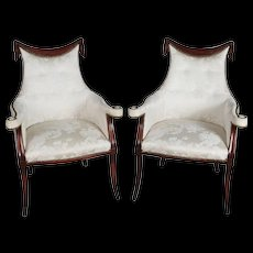 Pair Antique Classical French Style Upholstered Carved Swag Mahogany Armchairs