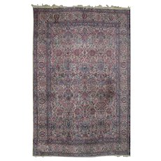 Persian Hand Knotted Kirman Carpet w/Allover Floral Pattern, 20th Century