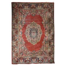 Antique Persian Hand Knotted Mahal Carpet, Floral, Early 20th Century