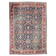 Antique Persian Hand Knotted Oriental Mahal Carpet, Early 20th Century