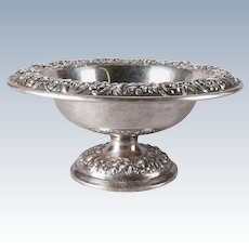 Antique S. Kirk & Sons Sterling Silver Repousse Compote, 18.5toz, 20th Century