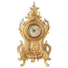 Classical French Louis XIV Style Gilt Boudoir Mantel Clock, 20th Century