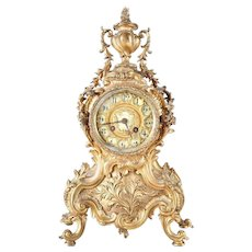 Antique French Rococo Style Gilt Bronze Mantel Clock, Wood Bicknall & Potter