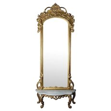 Antique French Louis XIV Style Giltwood Pier Mirror with Marble Top Base
