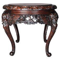 Antique Japanese Carved Hardwood Figural Centre Table, 19th Century