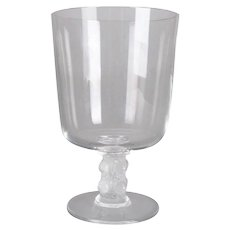 French Lalique Crystal Art Glass Chalice, Signed, 20th Century