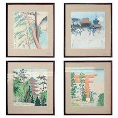 Set of Four Japanese Watercolor Wood Block Prints by Tomikichiro Tokuriki