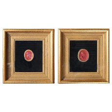 Pair of Miniature Classical Wax Portraits in Giltwood Frames, 19th Century