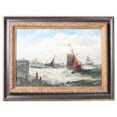 Antique Maritime Oil on Canvas Painting of Ships on Rough Seas, Signed