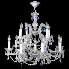 Contemporary French Style 13-Arm Chandelier with Sapphire Cut Glass Prisms