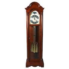 Vintage Mahogany Long Case Moon Phase Clock by Colonial Molyneux, 20th Century