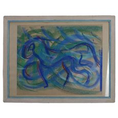 Mid Century Modern Equine Abstract Pastel of a Horse by Laurie Belvey Dated 1958