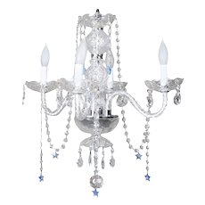 French Style Four-Light Chandelier with Sapphire Star Cut Crystals, 20th Century