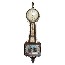 Federal Style Seascape & Patriotic Mahogany Banjo Clock by J. E. Caldwell & Co.
