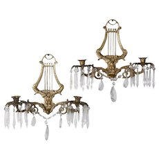 Pair of Bronze Cast Lyre and Swan Form Dual Light Crystal Sconces, circa 1930