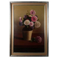 Vintage Framed Oil on Board Painting Floral Still Life, Signed L.R
