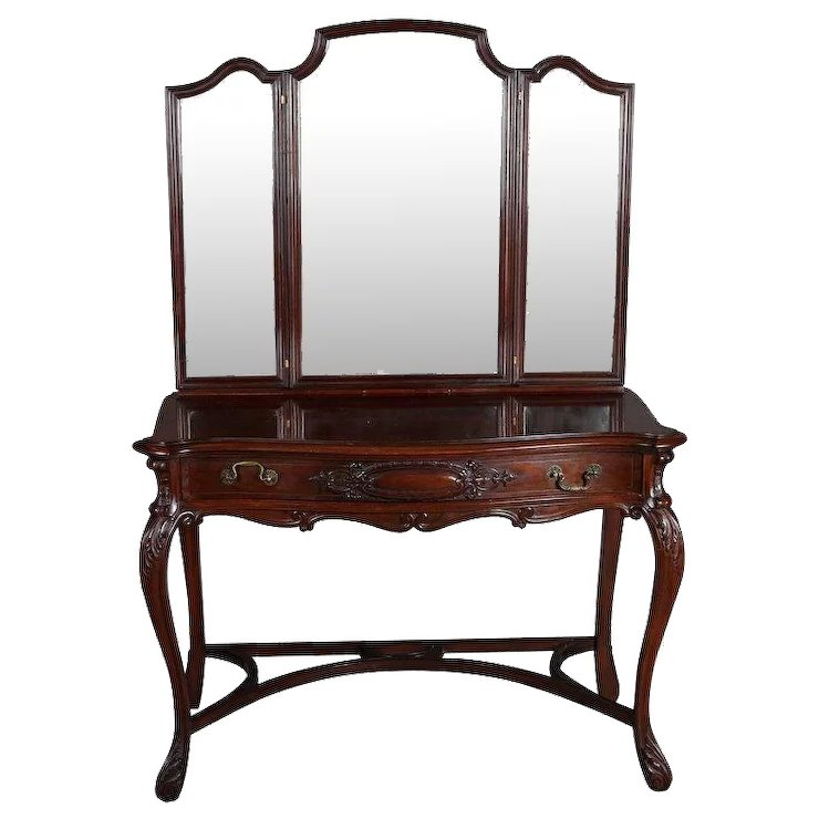 Antique Acanthus Carved Mahogany Triptych Mirrored Vanity, circa 1890 - Antique Acanthus Carved Mahogany Triptych Mirrored Vanity, Circa