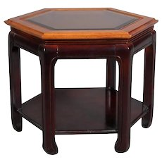 Chinese Style Hexagonal Mahogany, Walnut and Cane Top End Stand, circa 1920