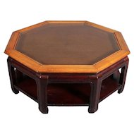 Chinese Style Hexagonal Mahogany, Walnut and Cane Top Coffee Table, circa 1920