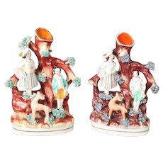 Pair of English Staffordshire Porcelain Figural Woodland Bud Vases, 19th Century