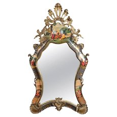 Monumental Italian Baroque Carved, Gilt & Hand-Painted Wall Mirror, 19th Century