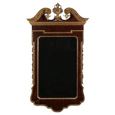 Federal Parcel-Gilt Flame Mahogany Wall Mirror with Broken Arch and Finial