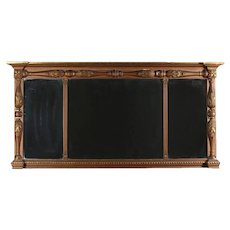 Empire Gilt Classical and Foliate Carved Triptych over Mantel Mirror
