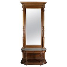 Neoclassical Carved Parcel-Gilt Mahogany and Marble Pier Mirror, 20th Century