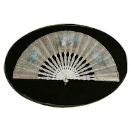 Antique French Hand-Painted Gilt Decorated Fan with Carved Bone Frame