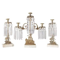 Three-Piece Figural Gilt Girandole Candelabra, Maiden in Countryside Setting