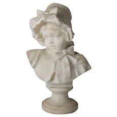 Italian Lapini School Victorian Carved Marble Bust, Young Girl in Bonnet