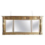 Antique American Empire Gold Gilt Triptych over Mantel Mirror, 19th Century