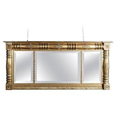 Antique American Empire Gold Gilt Triptych over Mantel Mirror, 19th Century