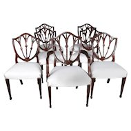 Seven Hepplewhite Style Shield Back Carved Mahogany Wheat Form Dining Chairs