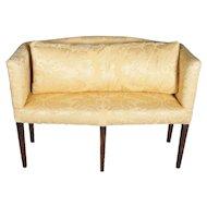 Antique English Hepplewhite Style Upholstered Mahogany Petite Settee