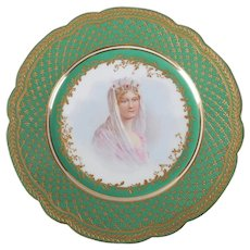 Antique French Sevres Hand-Painted & Gilt Porcelain Artist Signed Portrait Plate