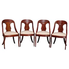 4 Antique French Empire Carved Flame Mahogany Gondola Chairs, circa 1840