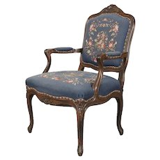 French Louis XVI Carved Walnut and Needlepoint Upholstered Armchair, circa 1950