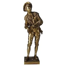 """French Cast Bronze Sculpture """"Figaro"""" after Charles Anfrie, Italy, 20th Century"""