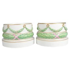 Pair of Meissen Hand-Painted and Gilt Draped Garland Porcelain Sculpture Plinths