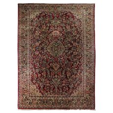 Room Size Antique Hand-Knotted Wool Sarouk Persian Carpet, circa 1930