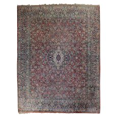 Antique Hand-Knotted Wool Sarouk Persian Carpet, circa 1930
