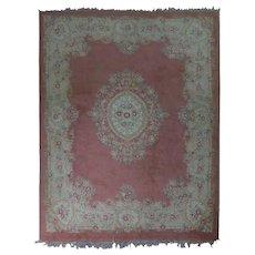 Antique Large Handwoven French Aubusson Style Floral Carpet, circa 1920